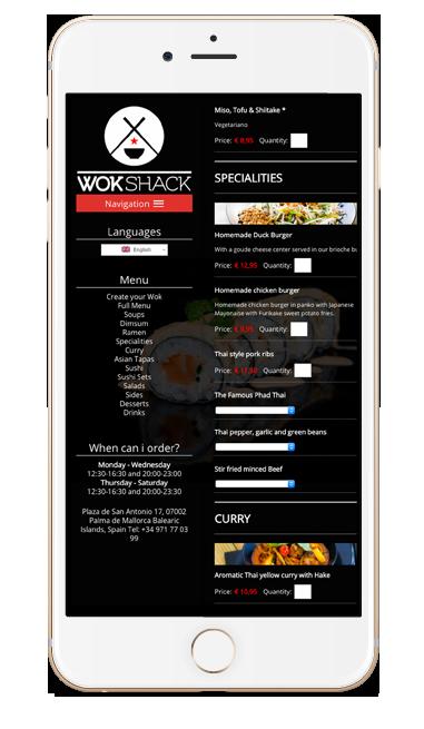 Wok Shack responsive web design.