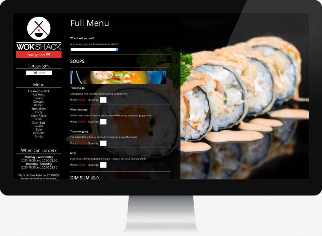 Restaurant website home page