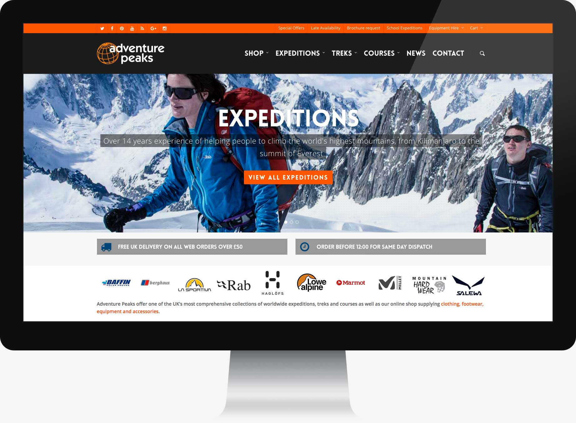 Homepage website design for expedition travel company.