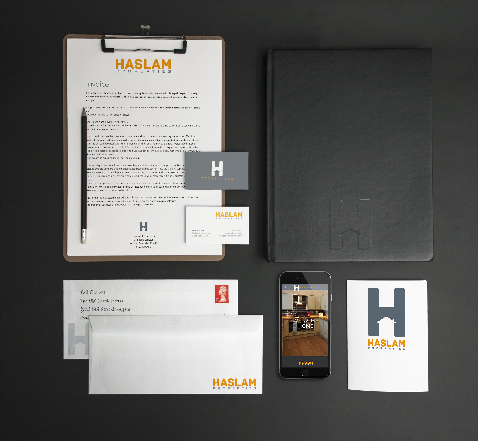 Leterheads and Business cards for Haslam Properties