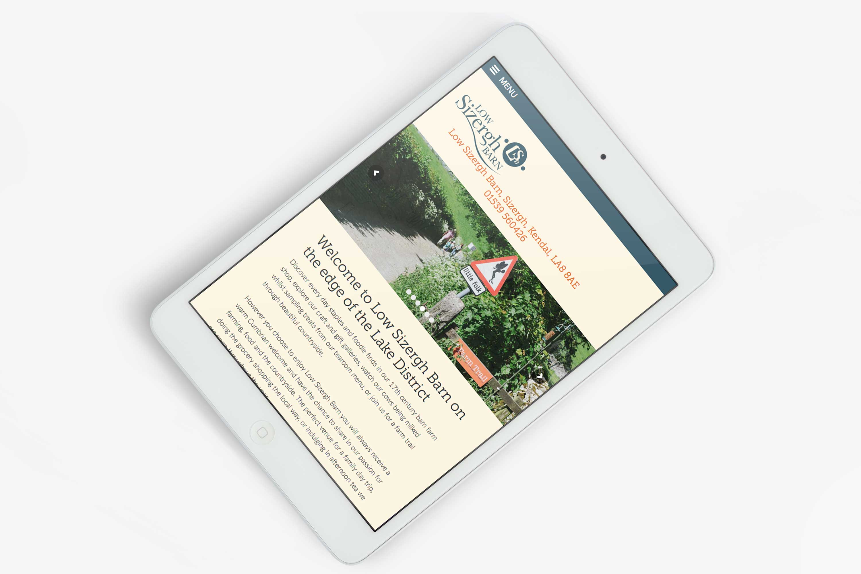 Responsive website design for Low Sizergh Barn