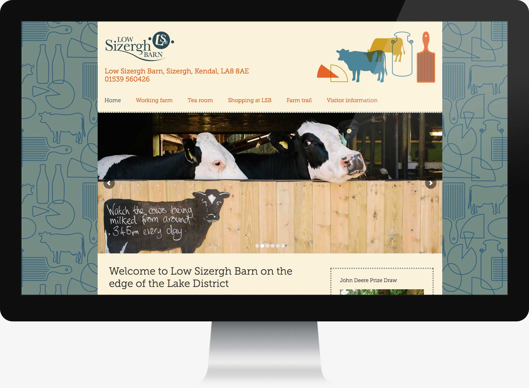 Homepage for web design for Low Sizergh Barn