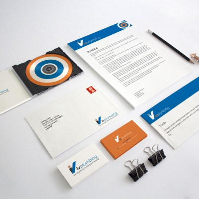 Print design for plumber. Stationery suite