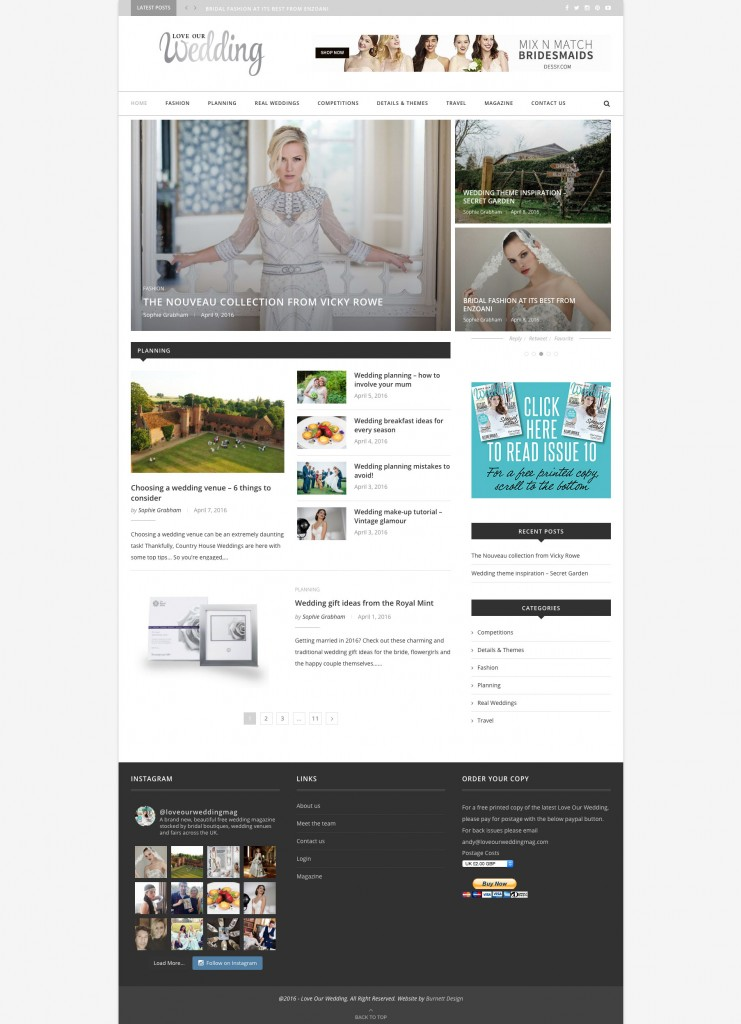 Homepage mockup for website fashion design