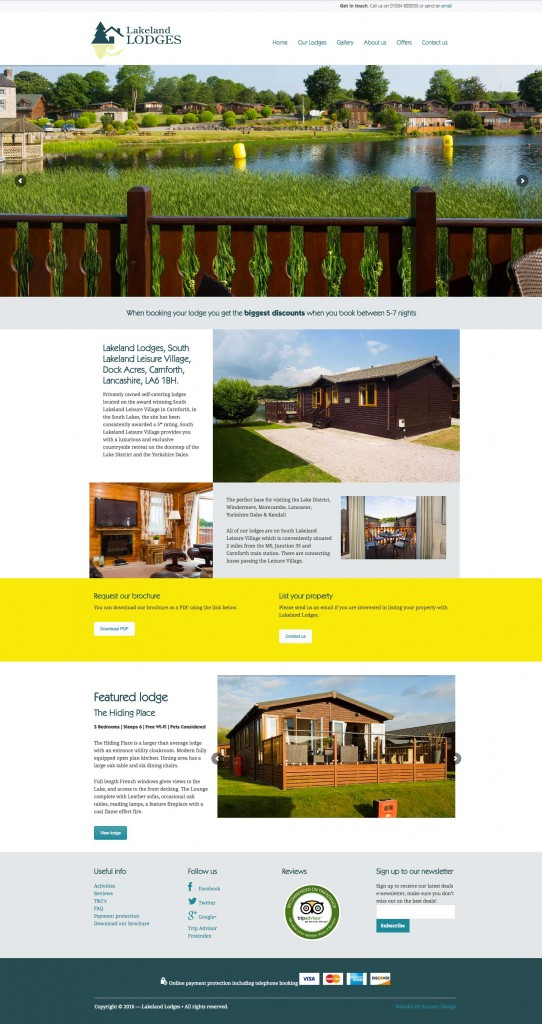 Homepage for website design for Lakeland Lodges